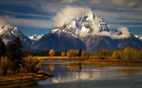 Picture USA, forest, Wyoming, river, sky, trees, landscape, nature, clouds, mountain, snow, Grand Teton National Park