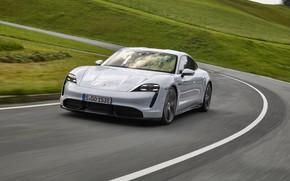 Picture movement, Porsche, turn, Turbo S, 2020, Taycan