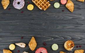 Picture donuts, waffles, cakes, cupcakes, croissants, macaroons, cupcakes, donuts