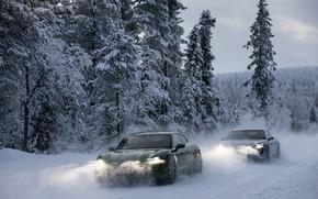 Picture snow, Porsche, headlights, 2020, Taycan, Taycan 4S