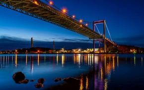 Picture night, bridge, lights, river, stones, shore, home, lights, Sweden, Gothenburg