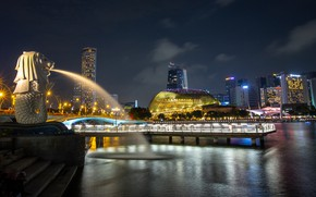 Picture night, lights, building, home, lights, Bay, Singapore, fountain, Merlion Park