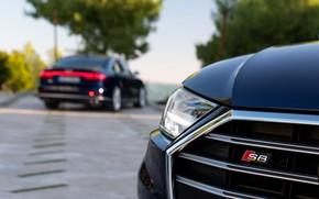Picture blue, Audi, the hood, grille, sedan, Audi A8, Audi S8, 2020, 2019, V8 Biturbo