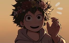 Picture look, smile, background, guy, Boku no Hero Academy, Midori Isuku, My heroic academia, Izuku Midoriya