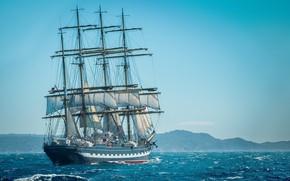Picture sailboat, Kruzenshtern, bark