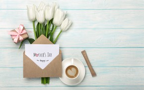 Picture gift, bouquet, tulips, the envelope, congratulations, Mother's day