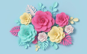 Picture flowers, rendering, pattern, colorful, pink, flowers, composition, rendering, paper, composition, floral