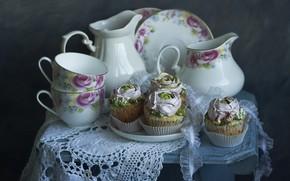 Picture dishes, cakes, napkin, stool, Лионелла Зимина