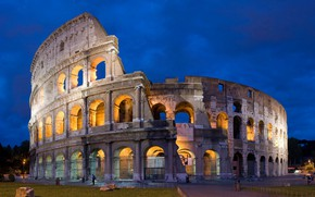 Wallpaper night, lights, Rome, Colosseum, Italy