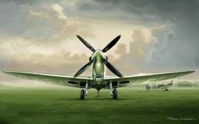 Picture grass, clouds, figure, fighter, the airfield, Spitfire, RAF, Supermarine, Romain Hugault
