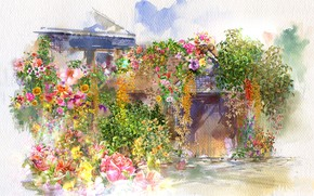 Picture flowers, house, watercolor, painting