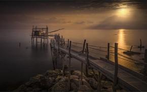Wallpaper dawn, coast, morning, Italy, pierce, Abruzzo