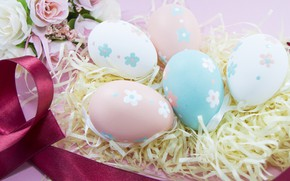 Picture Flowers, eggs, Easter, hay, Holiday