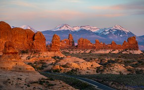 Picture road, mountains, stones, rocks, panorama, United States, Utah, Arches National Park