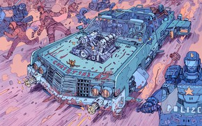 Picture Auto, Robot, Machine, Robots, Police, People, Girl, Attack, Fantasy, Art, Art, Robot, Robots, Fiction, Cyborg, …