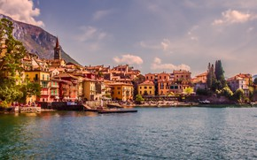 Picture landscape, mountains, the city, lake, home, Italy, Como, Varenna