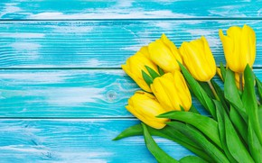 Picture flowers, bouquet, yellow, tulips, yellow, wood, flowers, tulips