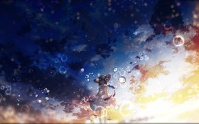 Picture the sky, girl, drops, sunset, Y_Y