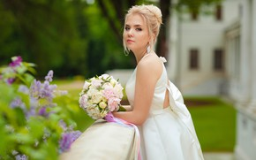 Picture girl, bouquet, dress, blonde