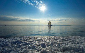 Picture sea, the sky, foam, boat, France, sail, France, Brittany, Brittany, The Gulf Of Morbihan, Gulf …