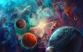 Picture space, nebula, space, planet, art