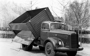 Picture Mercedes-Benz, tilt, truck, chain, body, dump truck, bonnet, biaxial, L-series, самосвал с трёхсторонней разгрузкой, высокие …