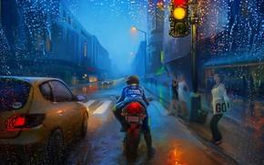 Picture Art, Street, Rain, Bike