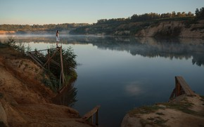 Picture girl, fog, open, the river, Askhat Bardunov, Ksenia Chapkhaeva, ɐнɔɐdʞǝdu qнεиЖ
