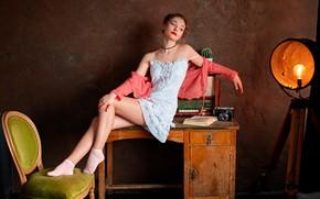 Picture girl, pose, table, watch, chair, spotlight, Sergey Olszewski, Alexander Misharin