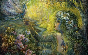 Picture leaves, trees, flowers, surrealism, dragon, picture, face, painting, Josephine Wall, fairy forest, forest stream, female …