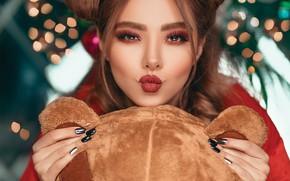 Picture girl, toy, kiss, makeup, bear, brown hair, hairstyle, bokeh, manicure, bundles, Pagani Ali