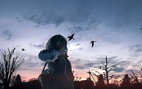 Picture the sky, girl, trees, crows