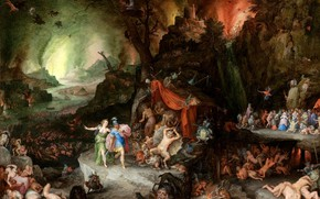 Picture Jan Brueghel The Elder, historical painting, Aeneas and the sibyl in the underworld