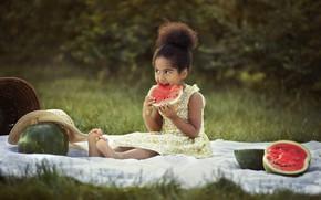 Picture summer, nature, hat, barefoot, dress, girl, mulatto, child, watermelons, litter, barefoot