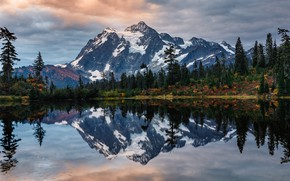 Wallpaper autumn, forest, the sky, water, clouds, trees, mountains, lake, reflection, USA, Mount Shuksan, Shuksan