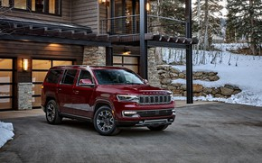 Picture red, house, wood, snow, jeep, crossover, crossover, premium, 2022, wagoneer, series ii