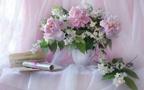 Picture notes, bouquet, peonies, Jasmine
