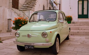 Picture car, house, vintage, Fiat, Fiat 500, stairs, old car