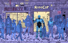 Picture Robot, Gun, Robots, Street, Police, People, Girl, Fantasy, Art, Art, Robot, Robots, Fiction, Robocop, Cyborg, …