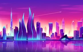 Picture Sunset, Vector, The city, Style, Skyscrapers, Dubai, Architecture, Art, Tower, Style, Neon, UAE, Skyscraper, Illustration, ...