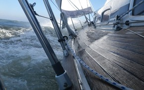 Picture sea, wave, storm, the wind, yacht, sail