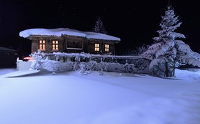 Picture winter, the sky, snow, night, house, tree, spruce, stars