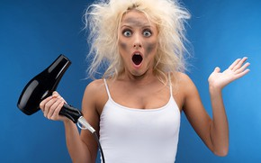 Picture look, girl, blue, face, pose, emotions, background, the situation, surprise, humor, makeup, Mike, hairstyle, blonde, …