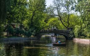Picture Lake, Summer, Boats, Park, Bridge, Park, Summer, Walk, Romania, The bridge, Romania, Bucharest, Boats, Bucharest