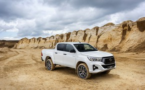 Picture sand, white, the sky, Toyota, pickup, Hilux, Special Edition, quarry, 2019