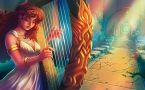 Picture girl, harp, fantasy