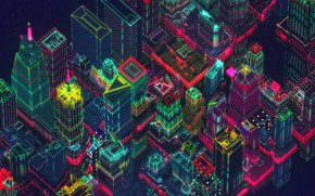 Picture The city, Style, Skyscrapers, Background, City, Fantasy, Architecture, Skyscraper, Art, Graphics, Art, Style, Fiction, Neon, …
