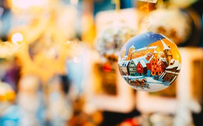 Picture winter, holiday, toys, figure, ball, horses, ball, horse, Christmas, New year, houses, painting, hanging, bokeh, …