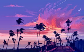 Picture sea, the sky, palm trees, people, Crescent