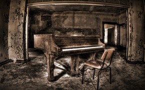 Picture background, chair, piano